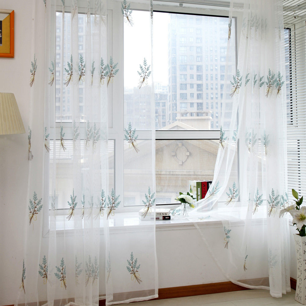 Drape Panel Sheer Scarf Valances Window Curtain Pastoral Floral Tulle Voile Door Window Curtain(China)