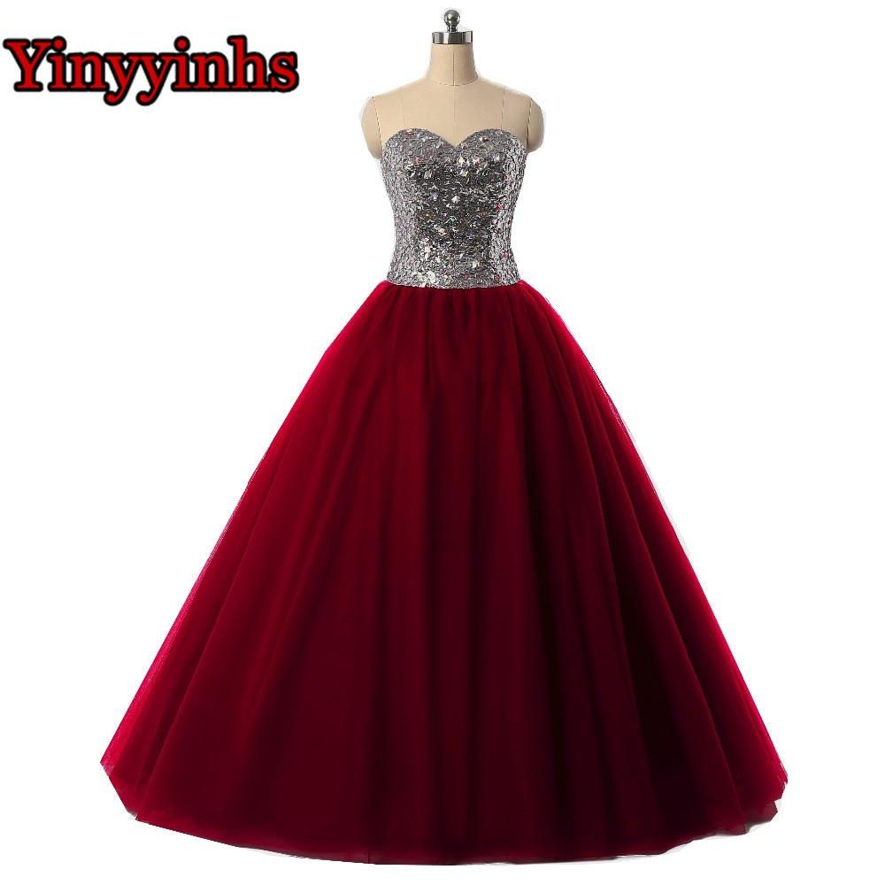 Yinyyinhs Burgundy Evening Dresses Ball Gown Sweetheart Vestidos De ...