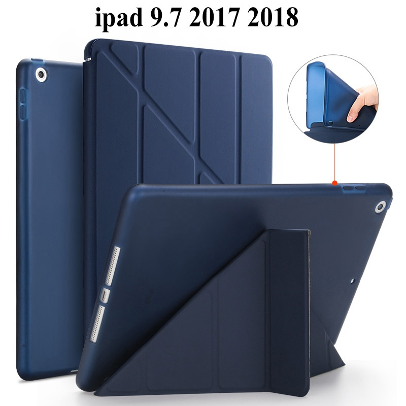 Caso molle di TPU Posteriore di Protezione Per Apple iPad 9.7 2017 smart Cover per iPad 9.7 2018 della copertura A1822 A1823 tablet caso + Film + PennaCaso molle di TPU Posteriore di Protezione Per Apple iPad 9.7 2017 smart Cover per iPad 9.7 2018 della copertura A1822 A1823 tablet caso + Film + Penna