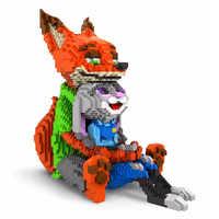 Balody blocos de diamante bonito judy coelho nick raposa modelo plástico construção brinquedo ponto leilão figuras brinquedos para crianças presentes