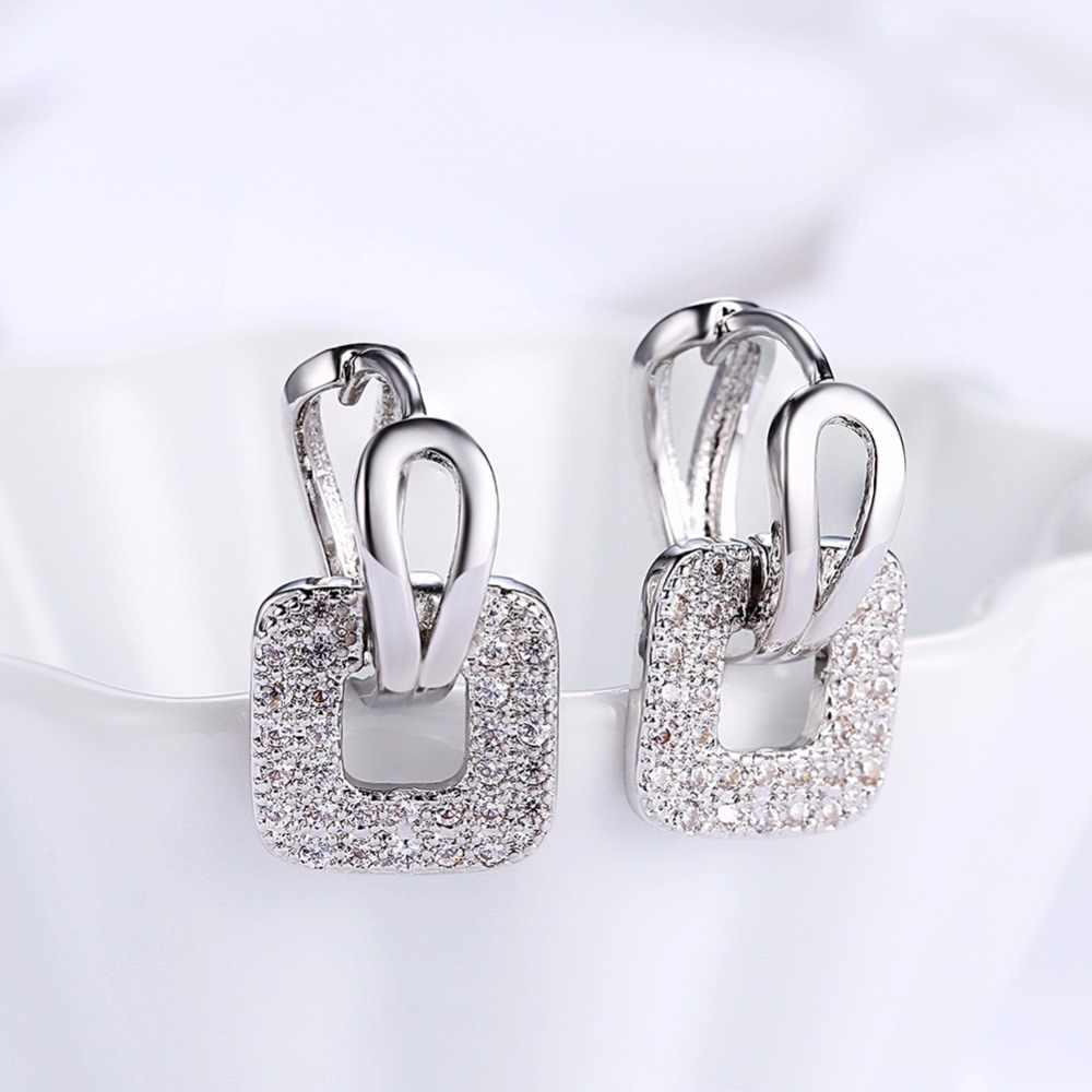 LEKANI 2019 فريد مربع الشكل ثقب هوجي هوب القرط للنساء الفضة/الذهب 2 ألوان القرط مستديرة غرامة مجوهرات