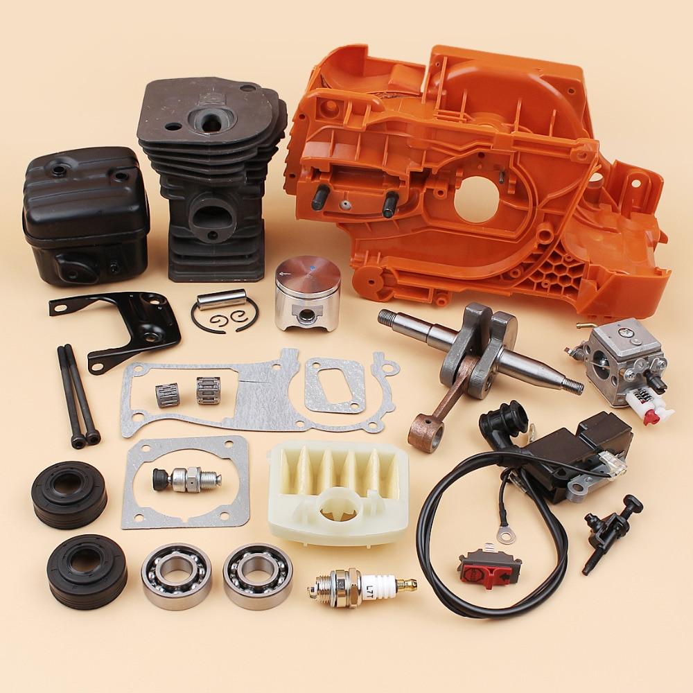 Crankcase Cylinder Crankshaft Oil Seal Tensioner Carb Muffler Ignition Coil Air Filter Kit Fit HUSQVARNA 340 345 Chainsaw Parts