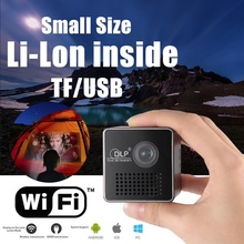 лучшая цена Mini Projector 1080P Wireless WIFI Mobile Projector Support Miracast DLNA Pocket Proyector home theater 5.1 DLP Beamer Battery