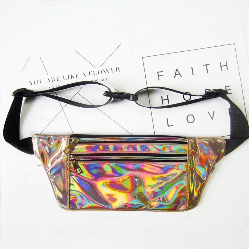 Leather Waist Bag Women 2018 Girls PU Waterproof Fanny Pack For For Phone Holographic Leg Belt Heuptas Sac Banane Men Waist Bags цена
