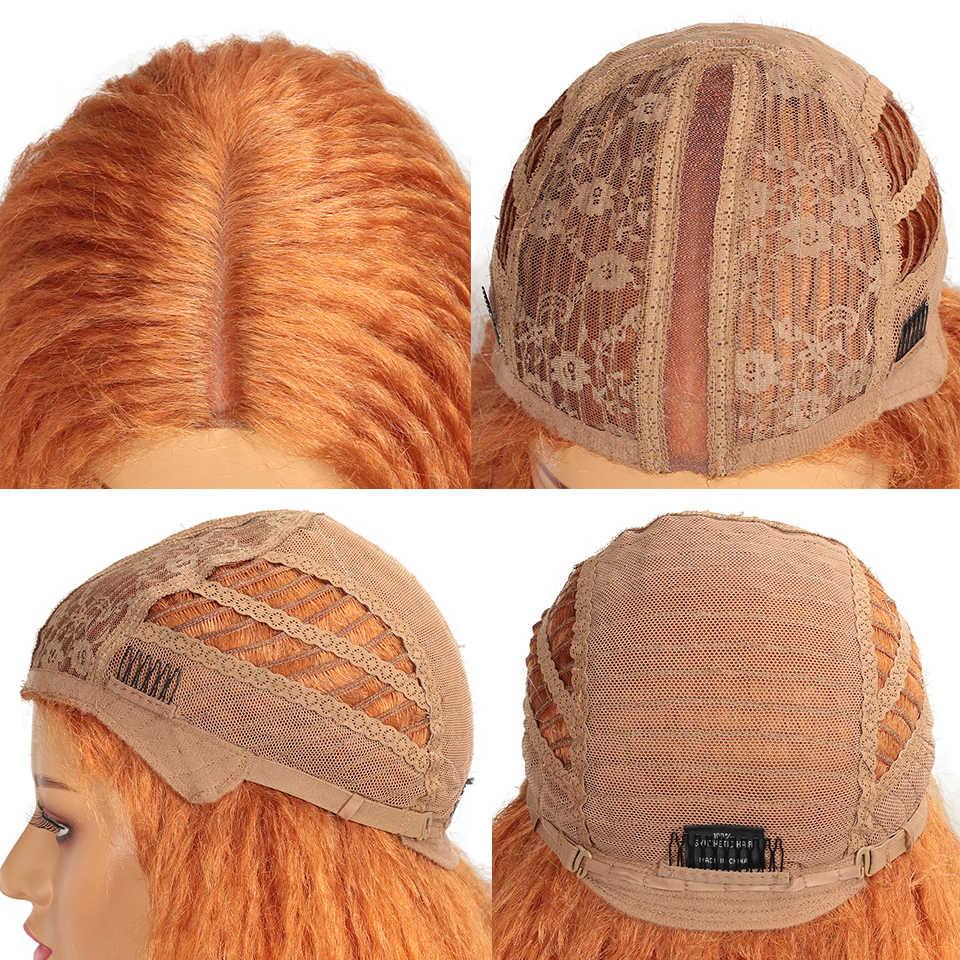 """Magia 38 """"Polegada longo afro kinky cabelo reto tecer ombre perucas sintéticas da parte dianteira do laço para preto feminino resistente ao calor perucas de festa"""