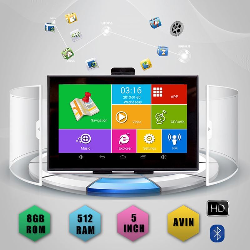 5 Android gps автомобильный навигатор ips емкостный Bluetooth wifi 8G/512M AV IN Точная карта локализации Бесплатная fm передатчик - 2
