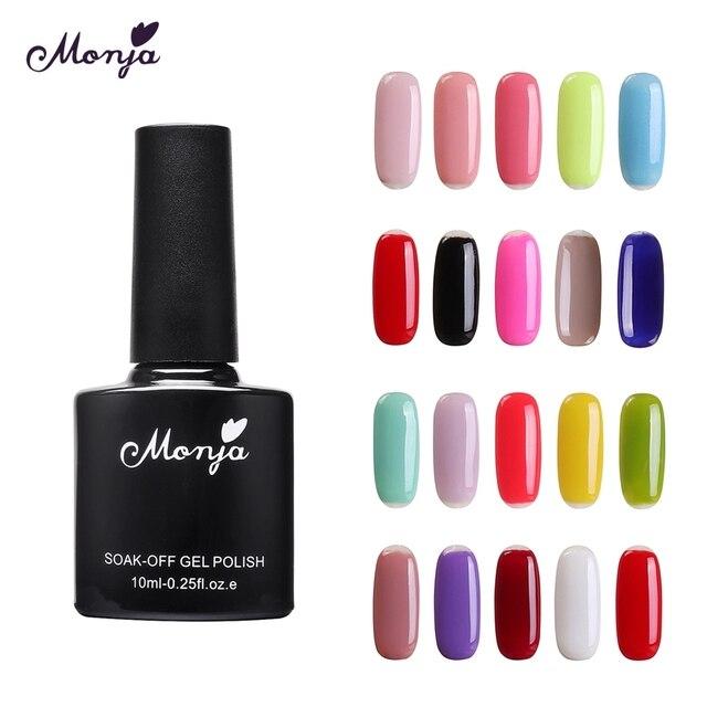 Monja 10ml Nail Art Pure color Glitter Soak off Acrylic LED UV Polish Gel Lacquer Primer Base Coat Matt Top Coat Manicure Tool