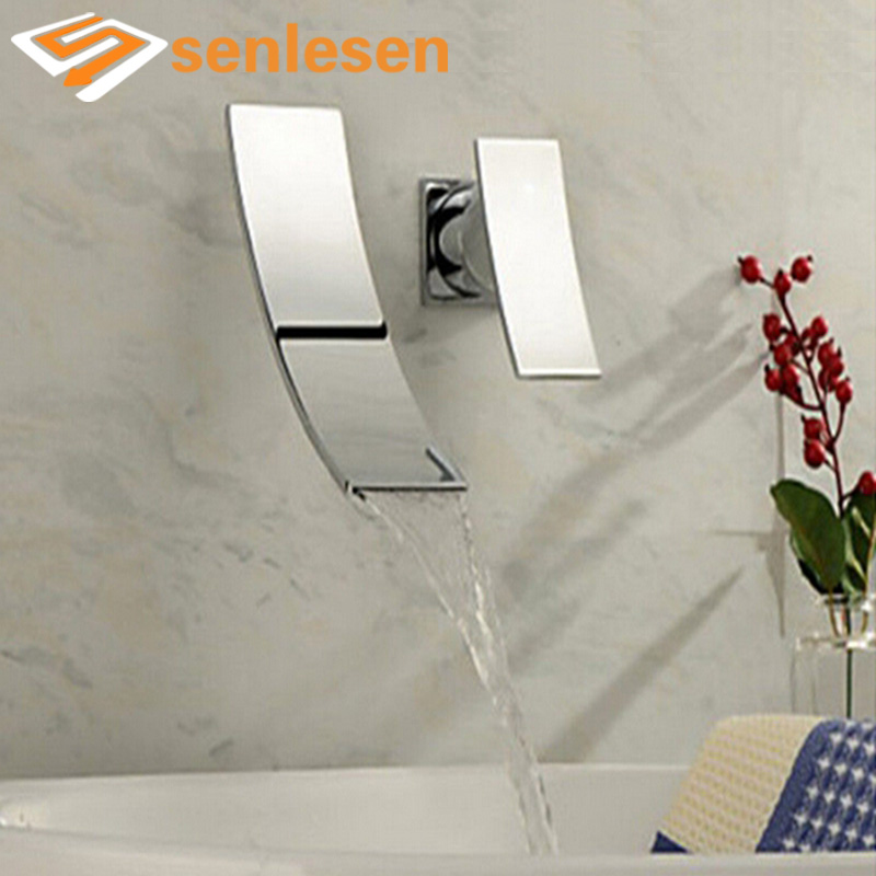 Wholesale And Retail Free Shipping Wall Mounted Waterfall Bathroom Basin Faucet Single Handle Sink Mixer Tap Chrome us free shipping wholesale and retail modern chrome finish bathrom waterfall sink basin faucet mixer tap dual holes wall mount