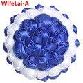Настроить цвет Искусственные Цветы Свадебные Букеты Простой Белый Royal Blue Ribbon Твердые Свадебные Рука Букет W223