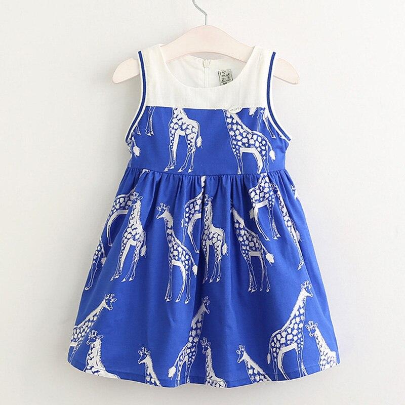 2017 Cartoon Giraffe Dress New Summer Princess Sleeveless Dresses For Girl Fashion Children Party Lovely Vestidos