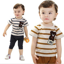 2016 newborn baby clothing sets fashion striped t-shirt and pants for summer children's casual clothing 2 colors