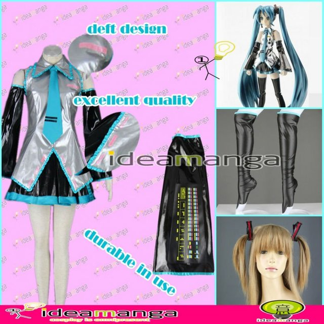 [ideamanga]Manga Amime V+ VOCALOID Superalloy Hatsune Miku  girl's Cosplay Costume Female halloween party dress Any Size