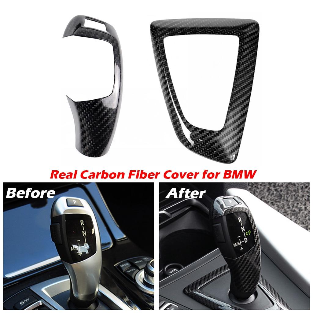 Carbon Fiber Gear Shift Knob Cup Cover Trim For BMW 1 2 3 4 Series F20 F30 F31