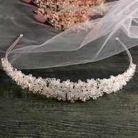 Серебряная свадебная повязка ручной работы с кристаллами, винтажные свадебные аксессуары для волос, свадебный головной убор, корона на вып...