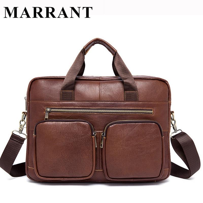 ФОТО MARRANT Genuine Leather Men Bag Men's Briefcase Leather Laptop Bag Handbags Casual Shoulder Crossbody Bag Men Messenger Bags