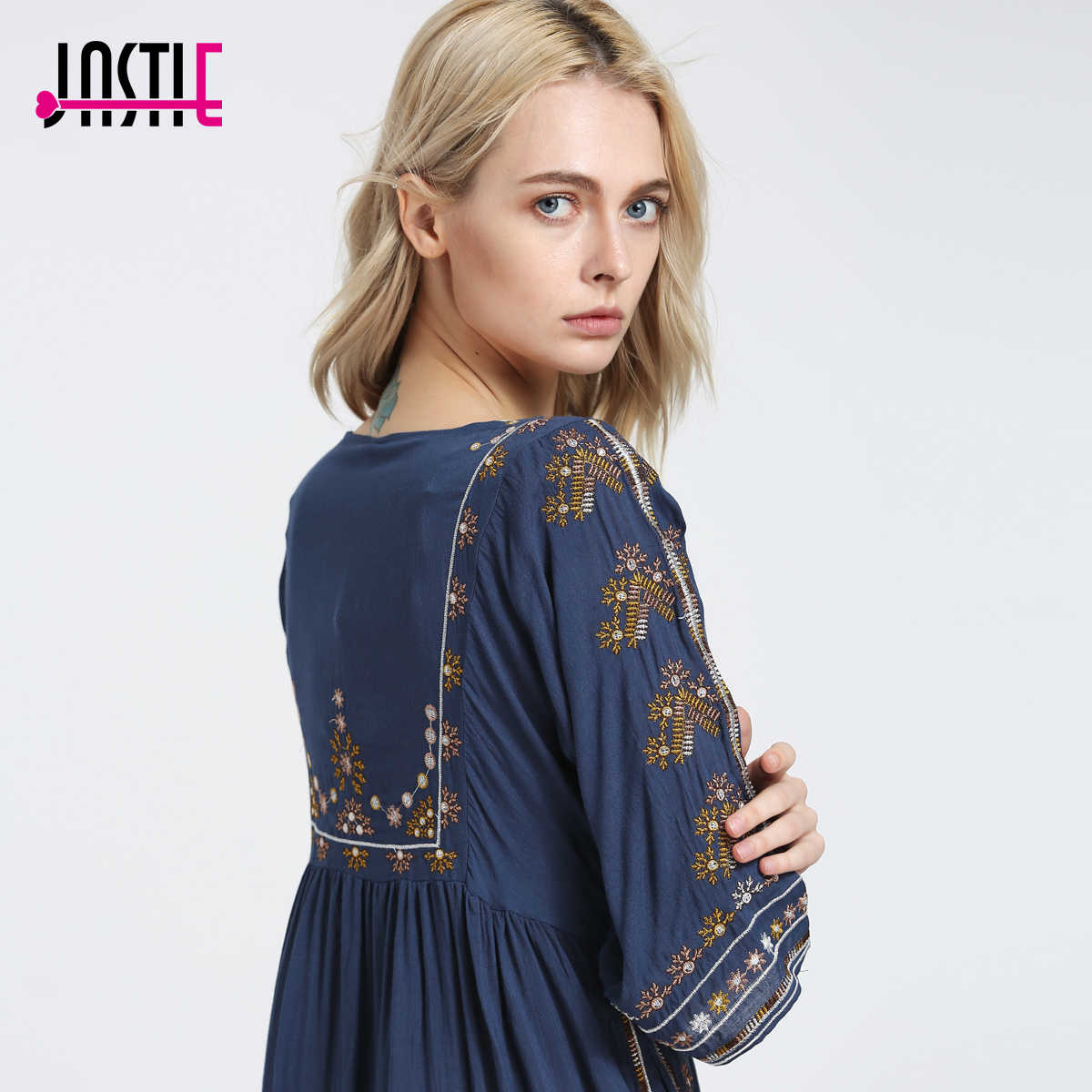 50acfb079cf79 Jastie Starlight Mini Dress Boho Chic Floral Embroidered Women Dresses  Cutout Neckline with Tie Sexy Dress Summer Vestidos 5808