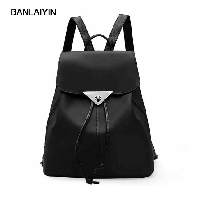 Women Waterproof Nylon Bag Las Daily Use Drawstring Cover Black Backpacks Soft Go Aborad Travel Bags