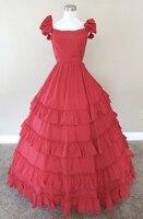 Red Ruffled Gown Civil war costume renaissance dress satin dress