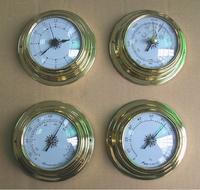 mechanical Brass Case Aneroid Barometer Hygrometer Thermometer Clock 4 pieces a set Decoration gift