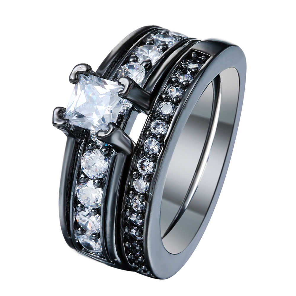 White Women Rings Set Black Gun Color Cubic Zirconia For Men Female Wedding Engaement New Jewelry