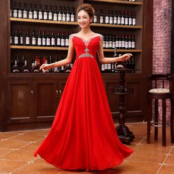 New Long Bridesmaid Dresses Beads Elegant Red A-Line Cap Sleeves Bride Gown Ball Prom Party Homecoming/Graduation Formal Dress 2016 new lace evening dresses with cap sleeve flower red bride gown ball prom party homecoming graduation princess formal dress