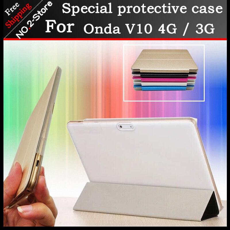 Ultra fino 3 fold PU leather folio stand case capa para Onda V10 4G/3G telefonema 10.1 polegada tablet pc Multi-cores opcionais + gift