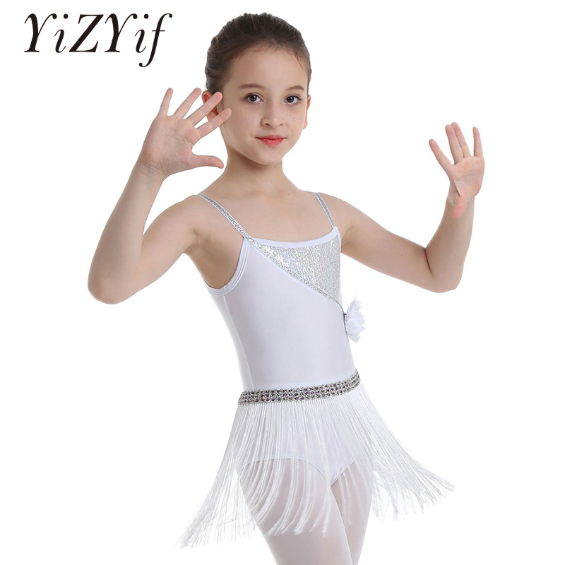 Kids Girls Ballet Latin Rumba Salsa Tango Leotards Dancewear Tutu Dress Costume