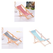 MagiDeal 3pcs Mini Foldable Striped Wooden Lounge Chairs for 1/12 Dollhouse Furniture(China)