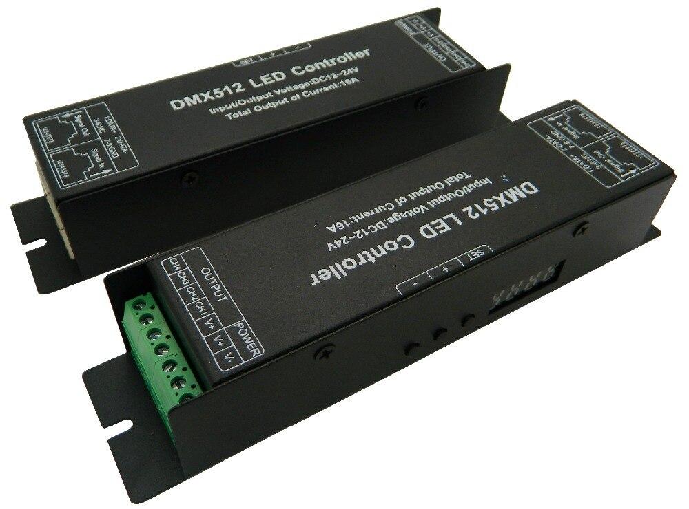 4ch легко DMX декодер постоянное напряжение, DC12-24V вход; 4A * 4 канала на выходе с 4 кнопками и дисплей для установки DMX адрес
