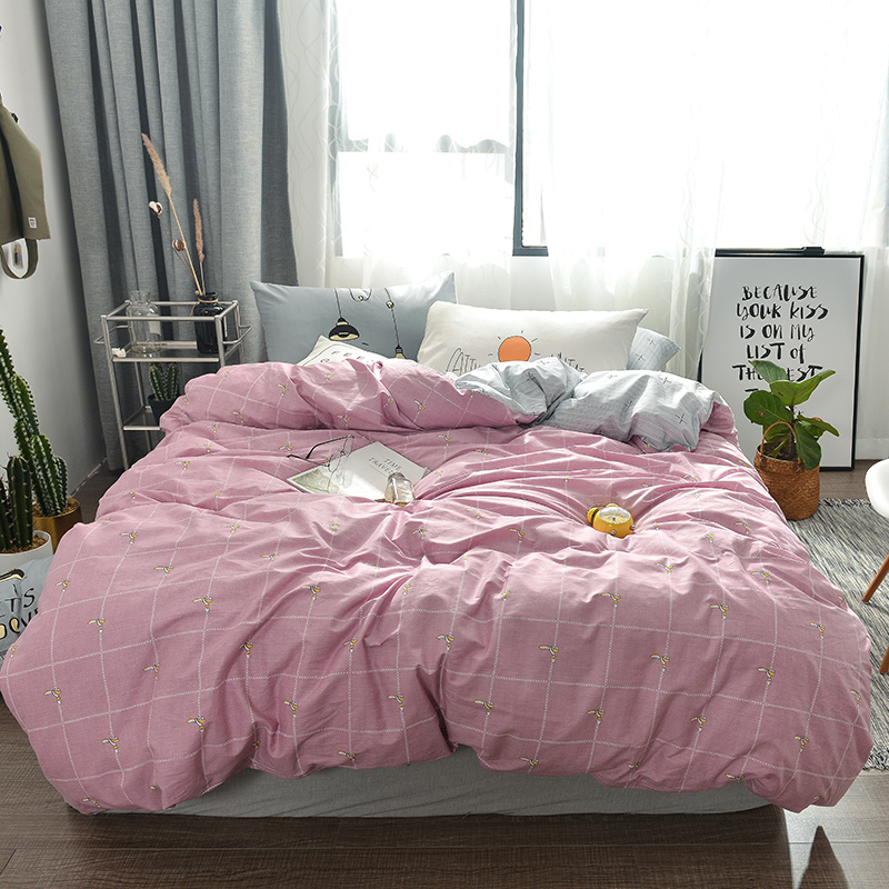 Aliexpress Com Buy Small Grid Print Simple Style Bedding