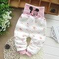 Varejo 2016 Inverno do Outono do Algodão Oco Calças da Roupa Do Bebê Das Meninas Dos Meninos Dos Desenhos Animados Padrão Infantil Quente Cuidado Barriga Calças de Pijama