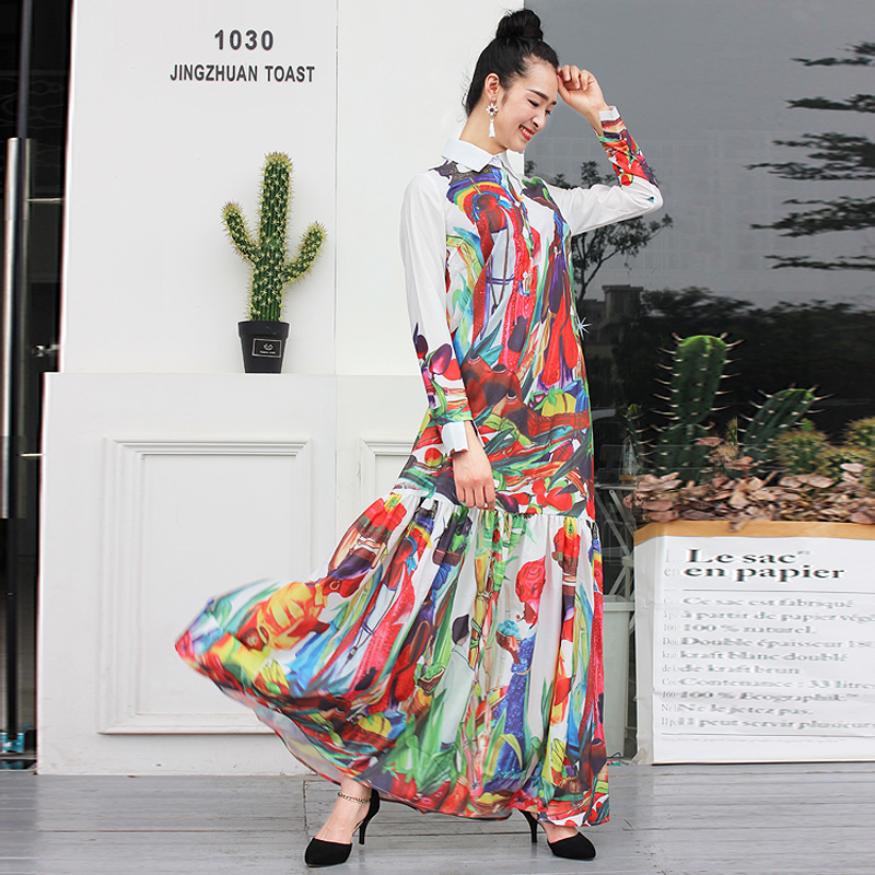 S-XXXXL Temperamento Boho Hippie de alta calidad Retro Holiday Leisure Beach de manga larga Vestido de mujer 2019 The New Summer Maxi Dress