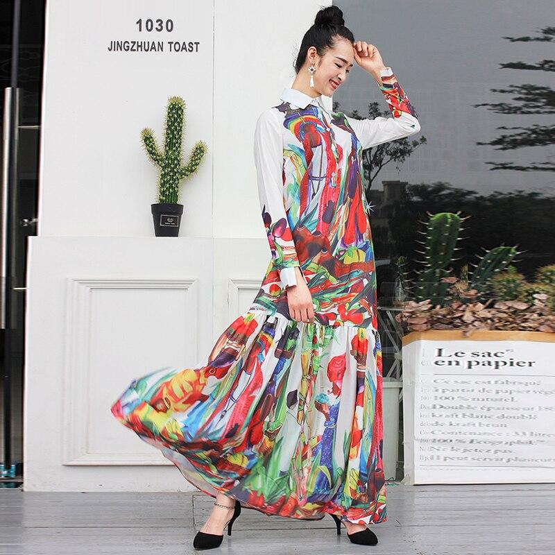 S-XXXXL haute qualité bohème Hippie tempérament rétro vacances loisirs à manches longues plage femmes robe 2019 la nouvelle robe Maxi d'été