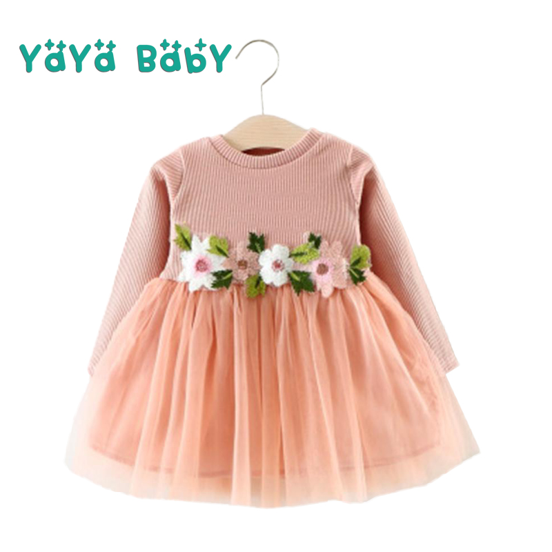 Long Sleeve Baby Dress 2018 New Flower O-neck Newborn Princess Birthday Dress Mesh A-line Baby Girls Clothes Infant Costume stylish jewel neck long sleeve mesh splicing dress for women