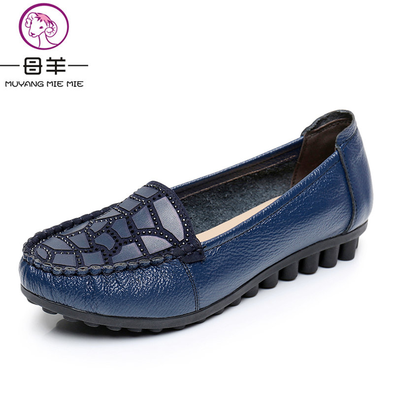 MUYANG MIE MIE New Women shoes woman Loafers  Casual Work Driving Shoes Genuine Leather Flat Shoes Women Flats Plus Size 35 - 42 mcckle woman fashion plus size shoes women black flats loafers shoes casual comfort shallow mouth work shoes brand ladies shoes