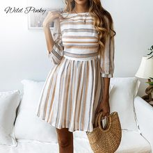 WildPinky Women Summer Beach Dress A-Line Striped Half Sleeve O-Neck Print Dresses Casual Mini Style 2019 Sexy Sundress