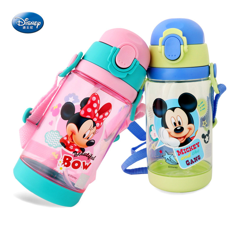 Disney 520ml Two Covers Baby Kids Water Cup Childrens Cup Straw Drop Plastic Cup Pupils Kindergarten Portable Kettle Summer ...
