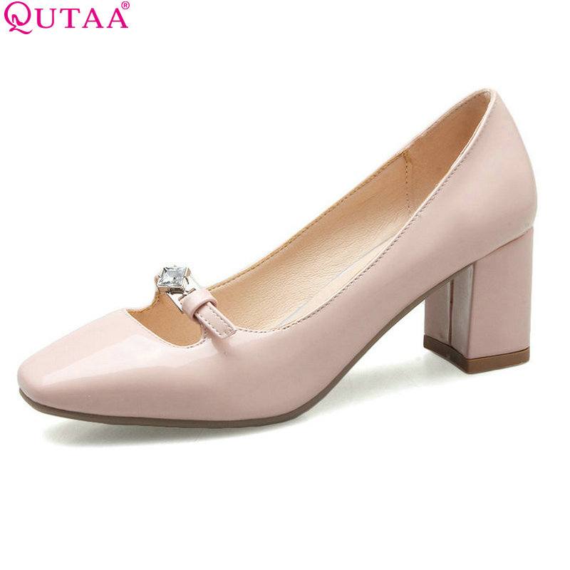 QUTAA 2017 Women Pumps Pointed Toe PU Patent Leather Ladies Shoe Square High Heel Rhinestone Woman Wedding Shoes Size 34-43 women ladies flats vintage pu leather loafers pointed toe silver metal design
