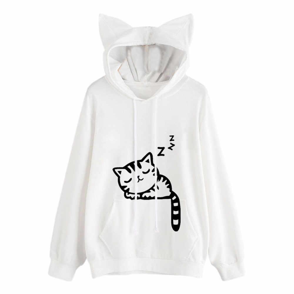 Harajuku Frauen Hoodies Sweatshirt Kawaii Rosa Winter Katze Muster Langarm Moletom Mit Kapuze Sweatshirts Ohr Hooed Mujer f1