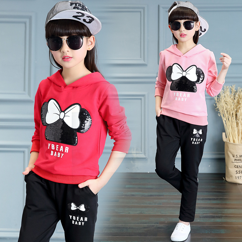 ФОТО Kids girls spring / autumn 2 pcs set 2017 new baby girls clothing cartoon fashion sequined hooded suit 4/5/6/7/8/9/10/11/12/13
