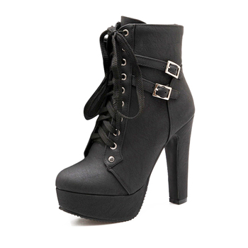 MCCKLE Plus Size Ankle Boots Women Platform High Heels Female Lace Up Women's Shoes Buckle Woman Short Boot Ladies Footwear 3