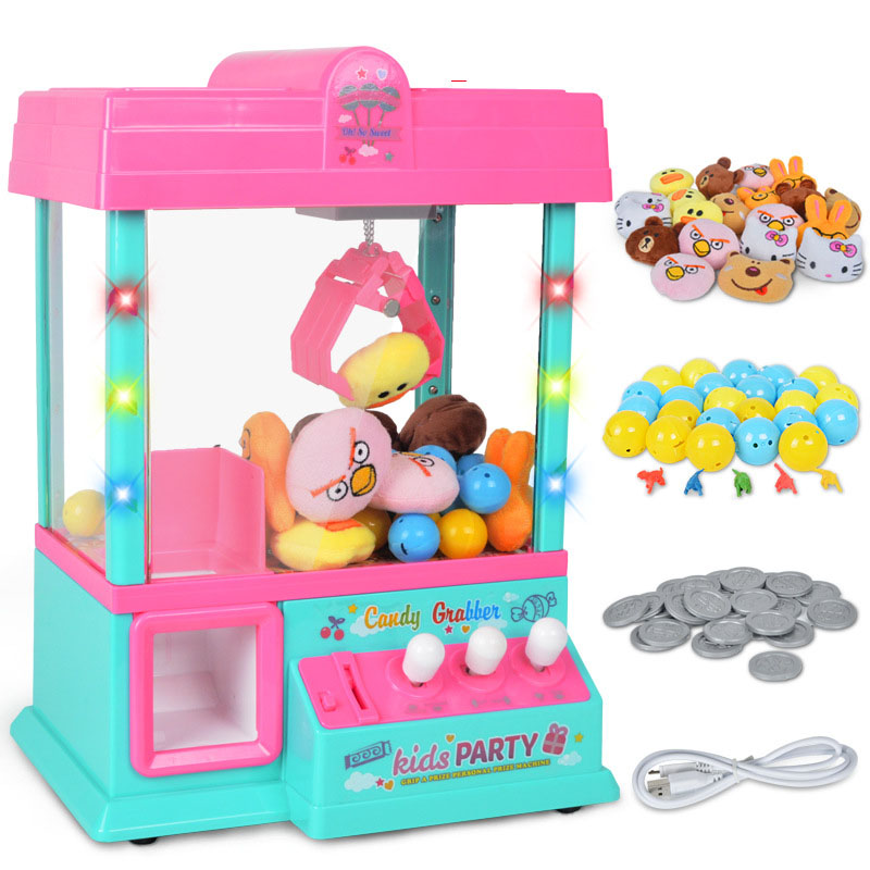 26*16*36cm Children Mini Arcade Crane Machine Toy Grip Dolls Candy Coin Game Machine with Capsule Puzzle Balls Party Toy