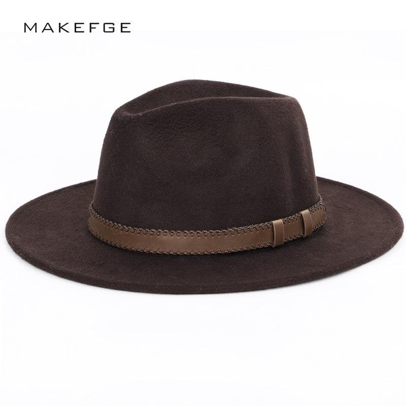 0e5a8f818 wide brim hat top hat mens hats fedoras Winter Autumn Imitation ...