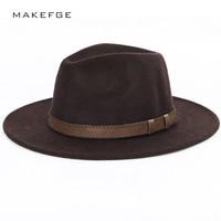 Sombrero de ala ancha sombrero para hombre sombreros de ala Otoño Invierno  imitación lana mujeres hombres d62838c8cdf