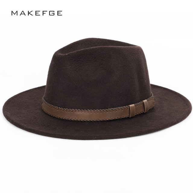 wide brim hat top hat mens hats fedoras Winter Autumn Imitation Woolen  Women Men Ladies Fedoras Top Round Caps Bowler Hats 42b6e25a088
