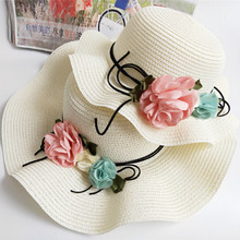 Summer Mommy & Me Beach flower Hat Simple Wavy large brimmed straw hat Fairy Floral Beach Hats Parent-child sunhat