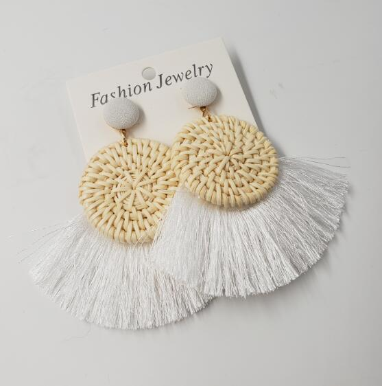 Round Rattan Braid with Tassel Earrings