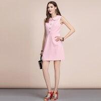 Vestido verano rosa corto sin mangas botón flor 2