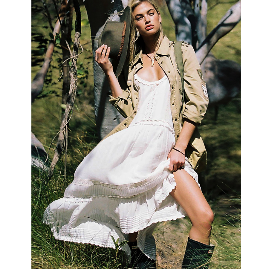 TEELYNN strap boho dress 2019 white rock lace midi summer dresses sexy sleeveless brand women Dresses