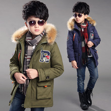 2016 Winter kid boy high quality fabric fur collar coat children thicker retro long type jacket